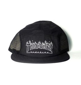 Thrasher Mag Thrasher Flame Outline 5 Panel Hat - Black