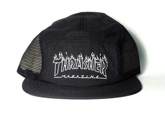 Thrasher Mag Thrasher Flame Outline 5 Panel Hat - Black