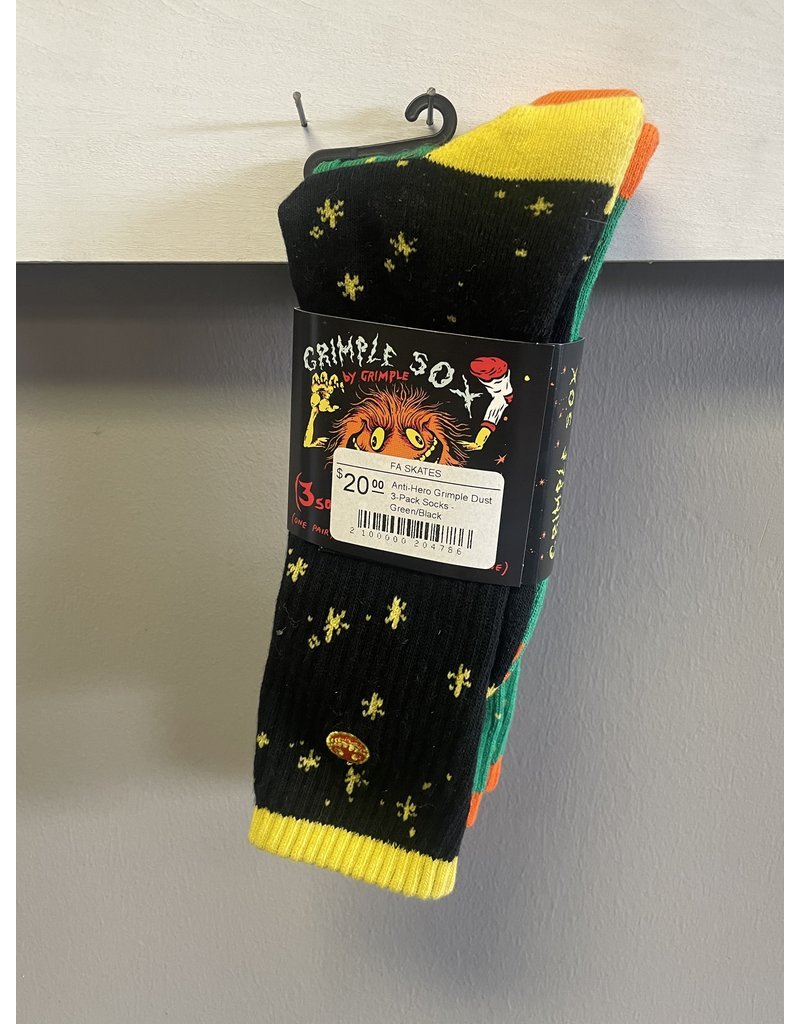 Anti-Hero Anti-Hero  Grimple Dust 3-Pack Socks - Green/Black