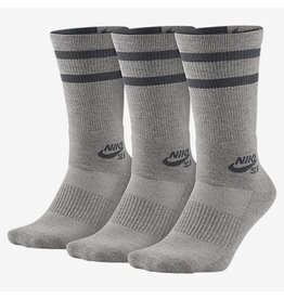 Nike SB Nike sb Dry Crew Socks 3 pack- Heather Grey/Dark Grey (Large 8-12)