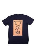 Welcome Welcome Symbol T-shirt - Navy/Peach (size Small)