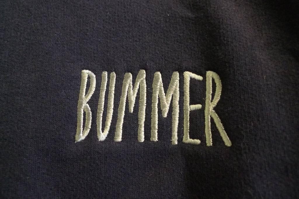 Bummer Bummer Embroidered Crewneck - Navy (size Large)
