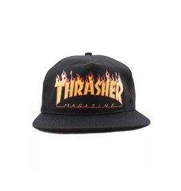 Thrasher Mag Thrasher Flame Logo Snapback Hat - Black