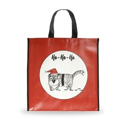 Holiday Shopping Bag, Grouchy Cat, Small