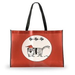 Holiday Shopping Bag, Grouchy Cat, Large
