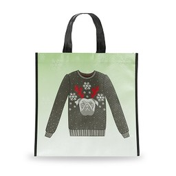 Holiday Shopping Bag, Pug Sweater, Small