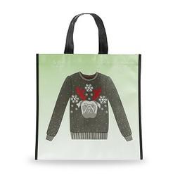 Holiday Shopping Bag, Pug Sweater, Small
