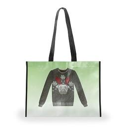 Holiday Shopping Bag, Pug Sweater, Medium