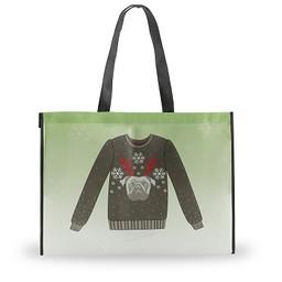 Holiday Shopping Bag, Pug Sweater, Large