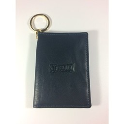 ID Holder with Key Ring, Leather,  Navy Blue