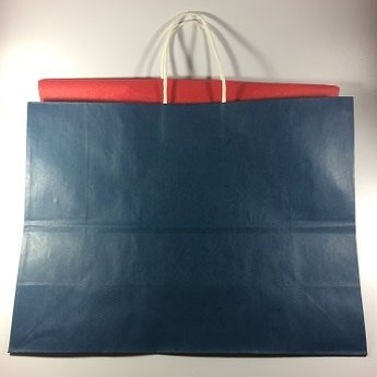 Blue Gift Bag/Red Tissue Paper, Large