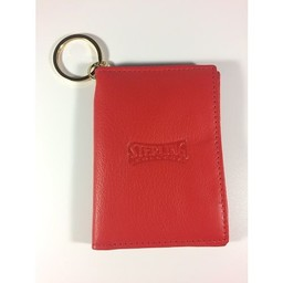 ID Holder with Key Ring, Leather,  Red