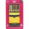Sakura Black Assorted Sizes Pigma Micron Pen 6 Piece Set