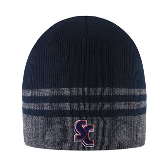 LogoFit Crew Striped Beanie - Charcoal & Navy