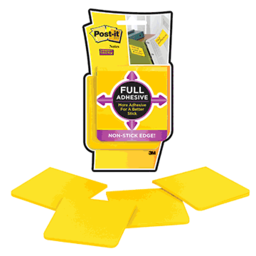 "Full Adhesive Post-it Notes, 3""x3"", 4 25-Sheet Pads, Yellow"