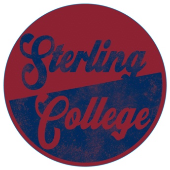 Blue 84 Sterling College Wood Circle Sign