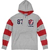 Blue 84 Reeve's Rugby Hood - Heather Grey/Red