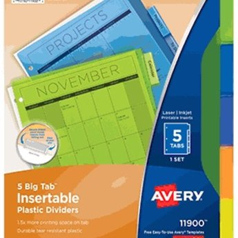 Avery 5 Big Tab Plastic Insertable Dividers Multicolor