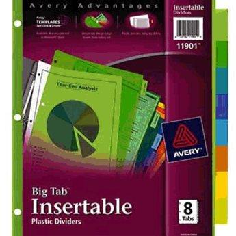 Avery 8 Big Tab Plastic Insertable Dividers, Multicolor