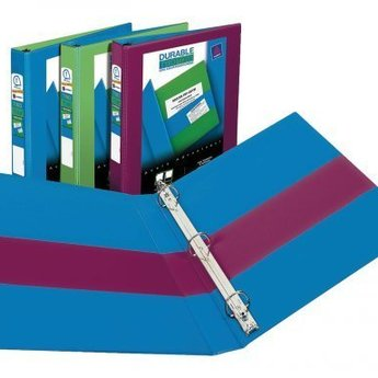 """Avery Durable Two Tone View Binders with Slant Rings; 1"""" Capacity; Assorted Colors"""