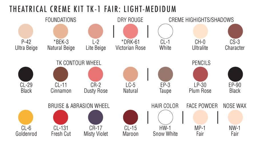 Tk1 Fair Lt Med Theatrical Makeup Kit
