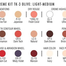 TK3 OLIVE:LT-MED THEATRICAL MAKEUP KIT