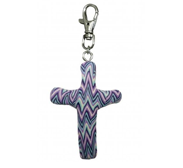 Cross Clip, Purple Chevron
