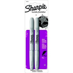 Sharpie Permanent Marker, Fine, Silver, 2ct