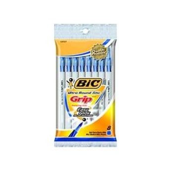 Bic Round Stic Grip Pen, 8ct, Blue