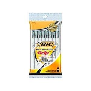 Bic Round Stic Grip Pen, 8ct, Black