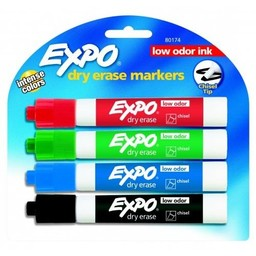 Expo Dry Erase Chisel Tip, 4-Color Set