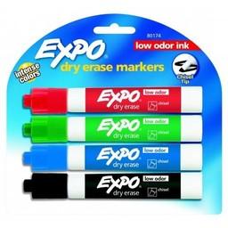 Expo Dry Erase Chisel Tip, 4-Color Set