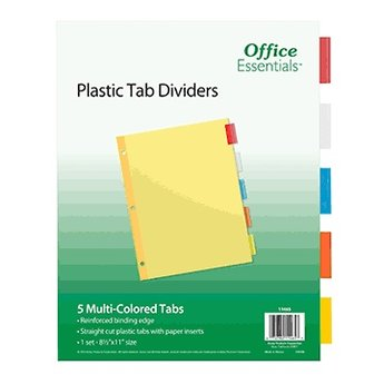 Plastic Tab Dividers, Avery, 5 Multi-Colored Tabs