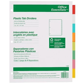Plastic Tab Dividers, Avery, 8 Multi-Colored Tabs