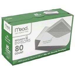 Mead Security Envelopes, 6-3/4, 80ct