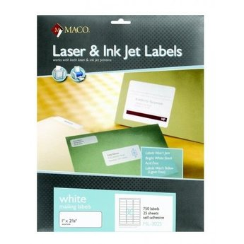 Maco White Mailing Labels, 750ct