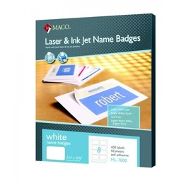 Maco White Name Badges, 400ct