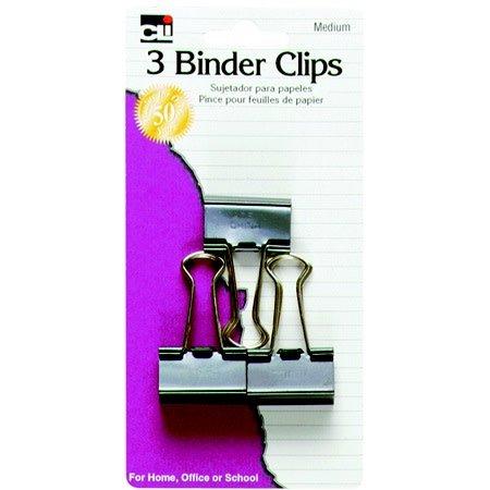 CLI Medium Binder Clips, 3ct