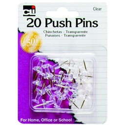CLI Push Pins, Clear, 20ct