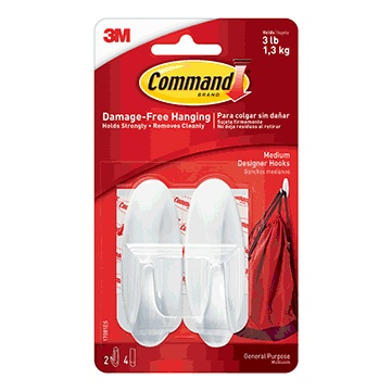 Command Medium Designer Hooks, 2ct