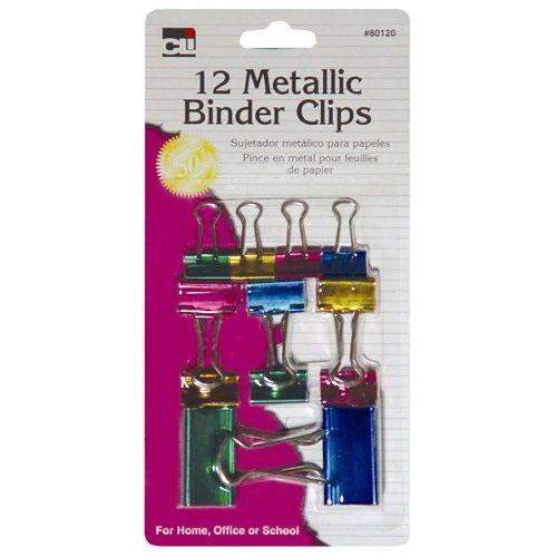 CLI Metallic Binder Clips, Asst., 12ct