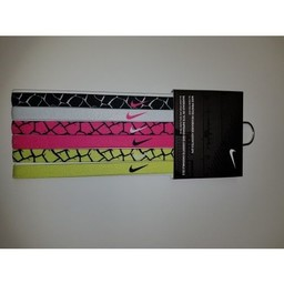 Nike Printed Headbands, 6ct,  Black/White/Pink