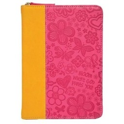 Zippered Journal: Pink/Orange Bloom Where God Plants You