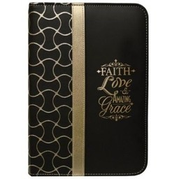 Zippered Journal: Black and Gold Faith Love Amazing Grace