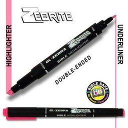 Zebrite Double End Bible Marker, Pink