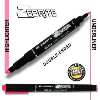 Zebrite Double End Bible Marker, Pink