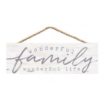 Slat Hanging Sign-Wonderful Family Wonderful Life