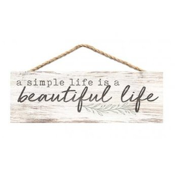 Slat Hanging Sign-A Simple Life is a Beautiful Life