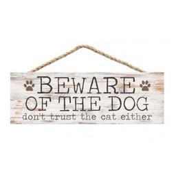 Slat Hanging Sign-Beware of Dog, Don't Trust Cat