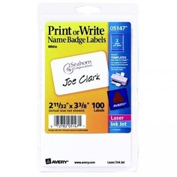 Print or Write Name Badge Labels; 100ct